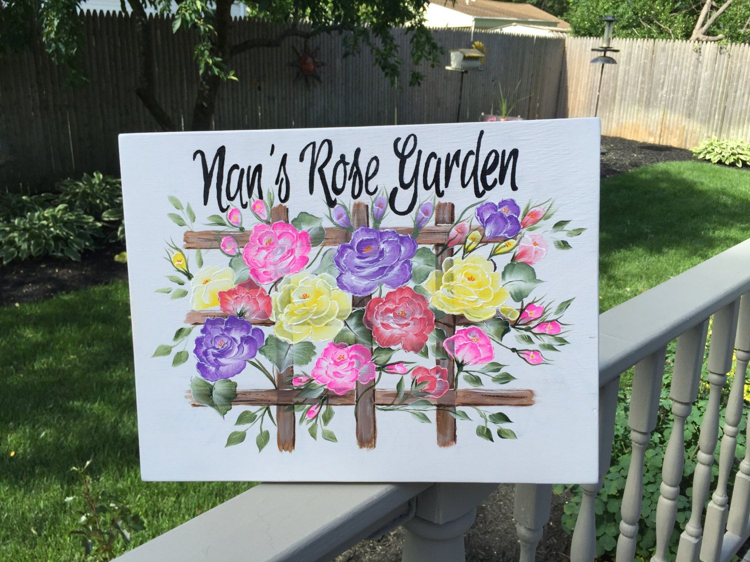 Custom Painted Garden Sign Hand Painted Sign Floral Signs Etsy Floral Signs Hand Painted Signs Garden Signs