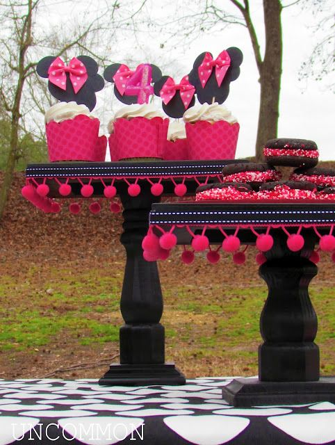DIY Pretty Cake Stands:  Supplies:    furniture legs (Home Depot);  rectangle or square 1 inch thick wood for the top (Hobby Lobby); smaller square plaque for the base (Hobby Lobby); drill and drill bits; spray paint; screws.  Drill pilot holes, spray paint, screw together, trim out.