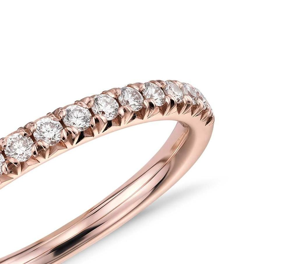 French Pave Set Diamond Eternity Ring In 9k Rose Gold 0 20ct Tw