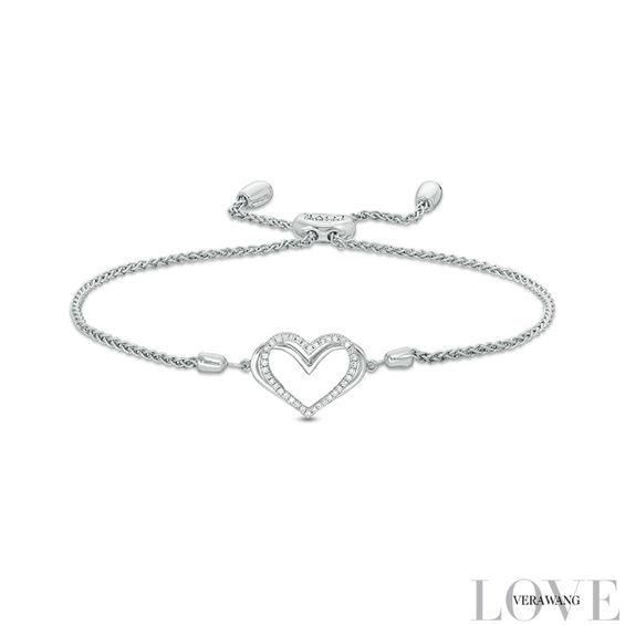 Zales 1/10 CT. T.w. Diamond Heart and Love Knot Bolo Bracelet in Sterling Silver - 9.5