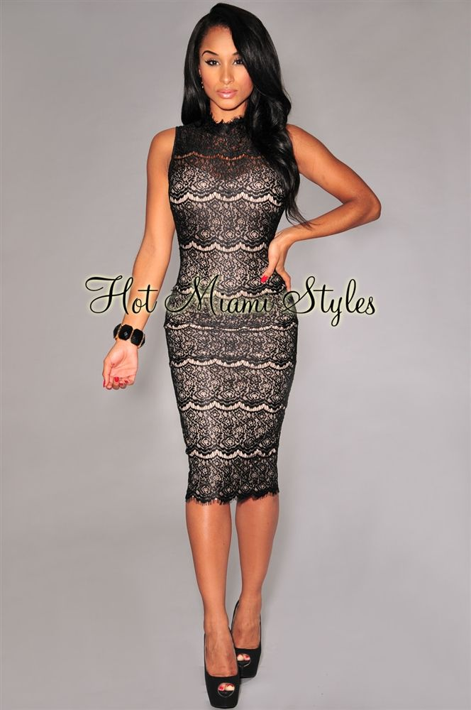af559cead5 Black Lace Nude Illusion Mock Neck Padded Midi Dress