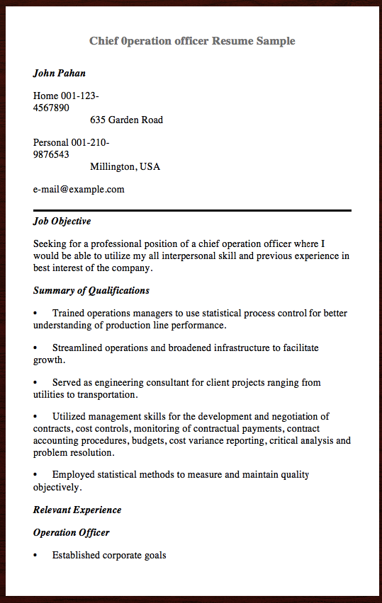 Here Is The Chief Peration Officer Resume Sample You Can Preview