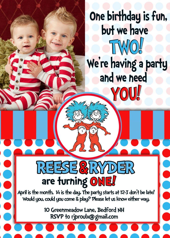 Dr. Seuss Thing 1 & Thing 2 - Twins Birthday Invitation. $12.00, via ...