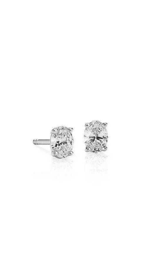 Oval Cut Diamond Stud Earrings In 18k White Gold 1 2 Ct Tw