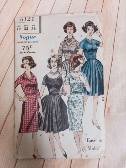 Vogue 5121 Sewing Pattern One Piece Dress Straight Pleated Skirt ...