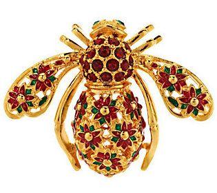 Joan Rivers Poinsettia Bee Pin $43.50 on QVC.com
