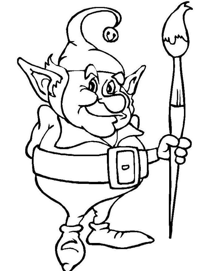 Christmas Elves Old Cool And Interesting Coloring Pages   Sewing ...