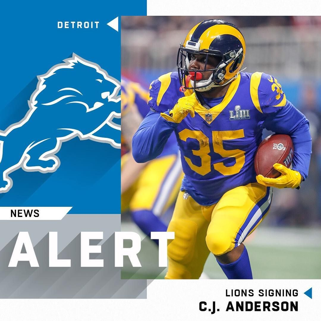 NFL Lions signing RB CJ Anderson to oneyear deal. (via
