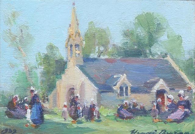 Henri Buron 1880 1969 Bretonnes Et Enfant Devant Une Eglise 1907 Huile Peinture Bretonne Paysage Breton Bretagne