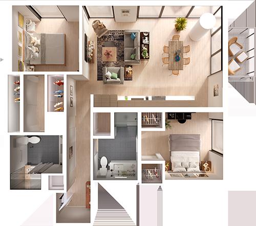 Two Bedroom 3d Floor Plan Top View 3d Floor Plans Floorplans 3d 3dfloorplans Hotel Room Design Plan Living Room Floor Plans Apartment Layout