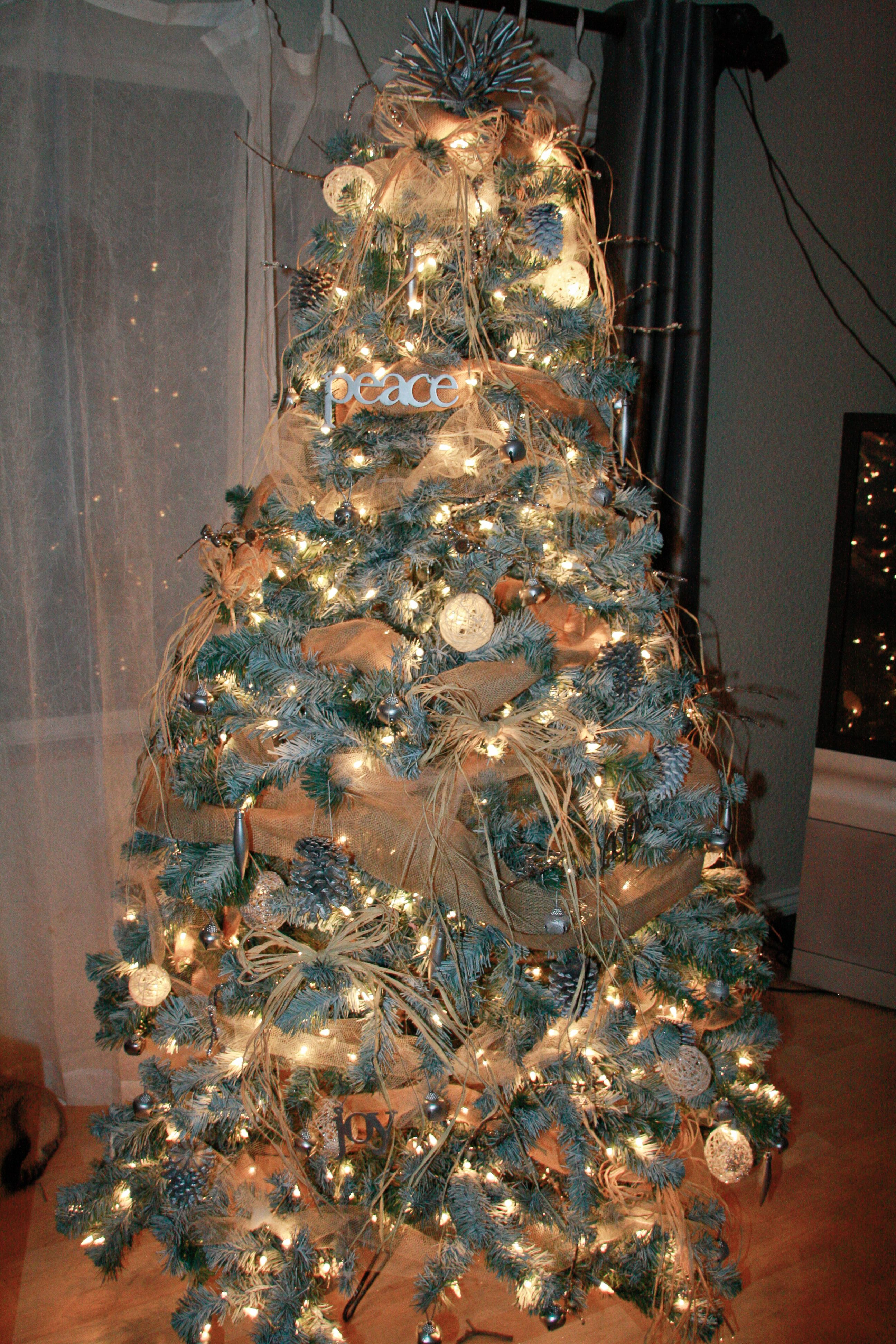Neutral Christmas Spray Painted Flocked Tree Burlap Tulle Garland Raffia Bows Silver