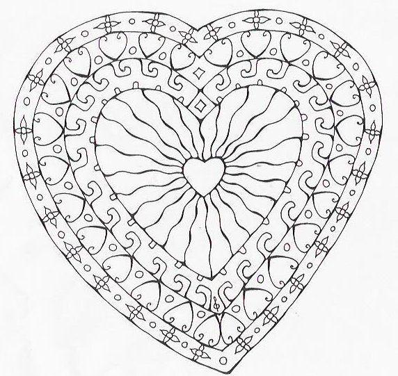 Coloriage Mandala Coeur à colorier - Dessin à imprimer | Coeurs ...