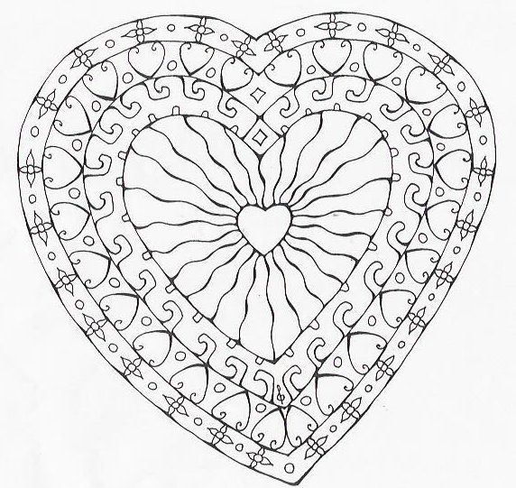 Coloriage mandala coeur colorier dessin imprimer - Dessin mosaique a imprimer ...