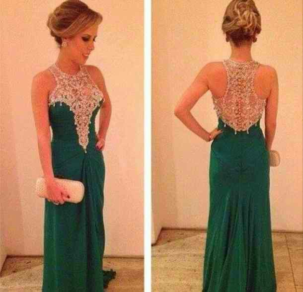 Tan and Green Prom Dresses