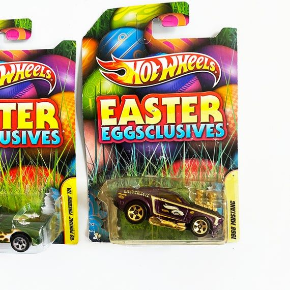 This listing features 3 Hot Wheels Easter Eggclusives - 1:64 Scale CarsAll cars are sealed in packaging. Please refer to photos.Please refer to the list below.This listing includes:1968 Mustang1970 Plymouth Barracuda69 Pontiac FirebirdAll of the packaging has very mild wear. Comes from pet free and smoke free home.