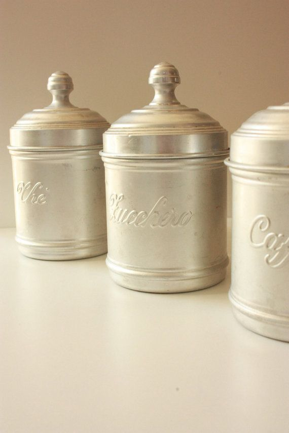 italian aluminium canisters set of three cafe by tribecasvintage