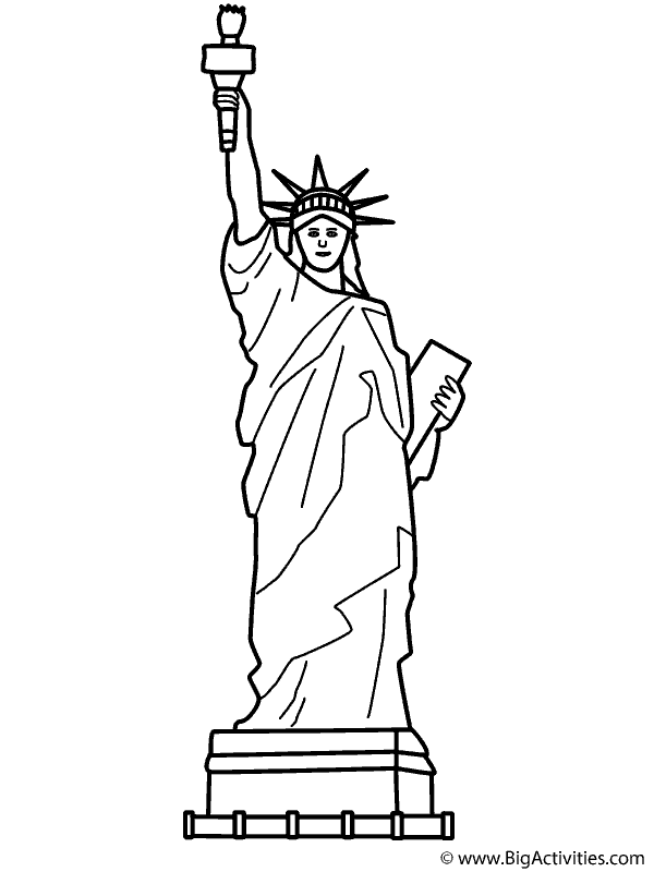 coloring page | Statue of liberty drawing, Statue of ...
