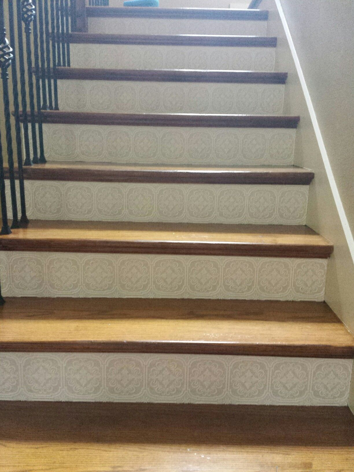 DIY Decorative stairs. Get textured wall paper and add it