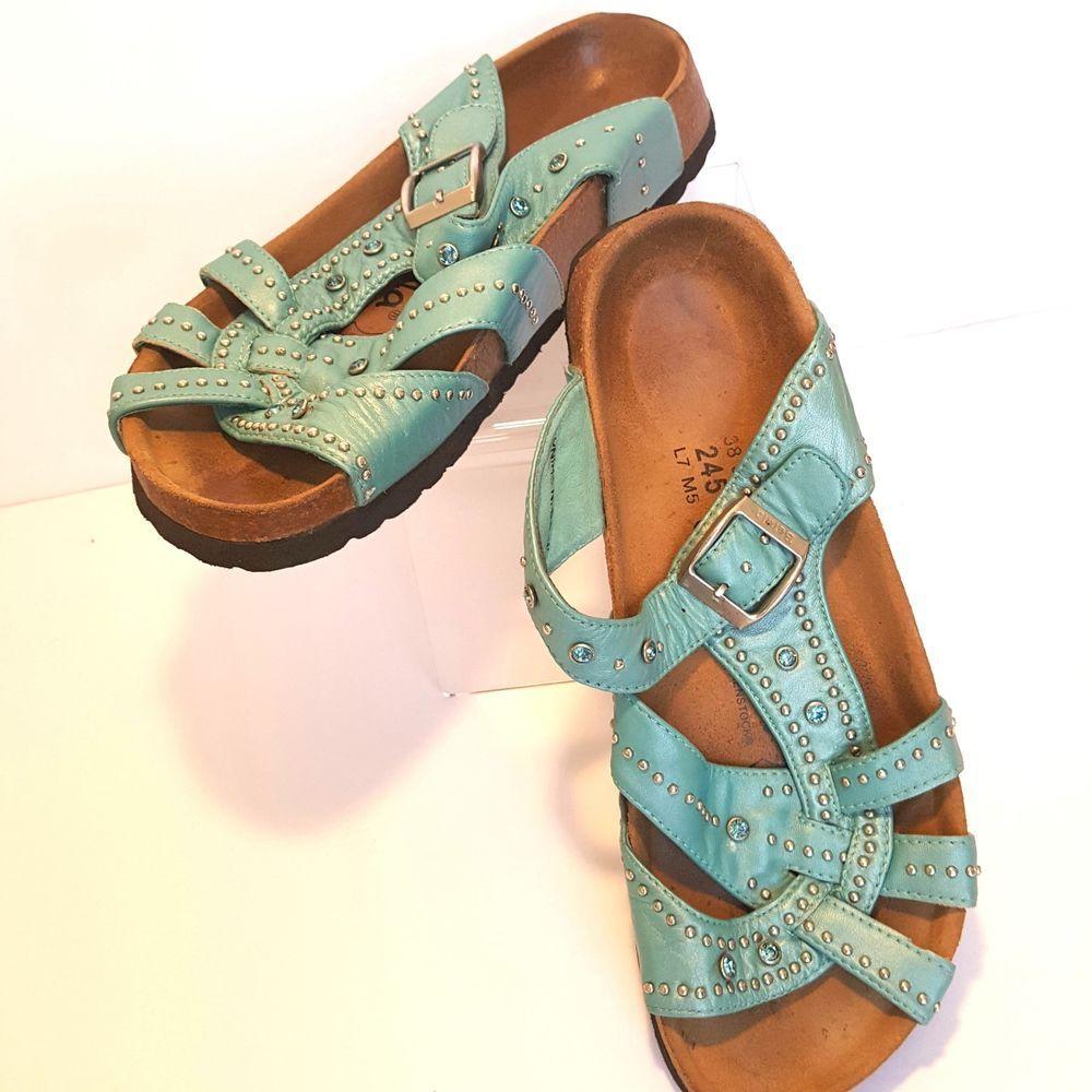 d66e31829 Betula Birkenstock Womens Sandals Strappy 245 US 7 EU 38 Light Blue  Rhinestones  Betula  Slides