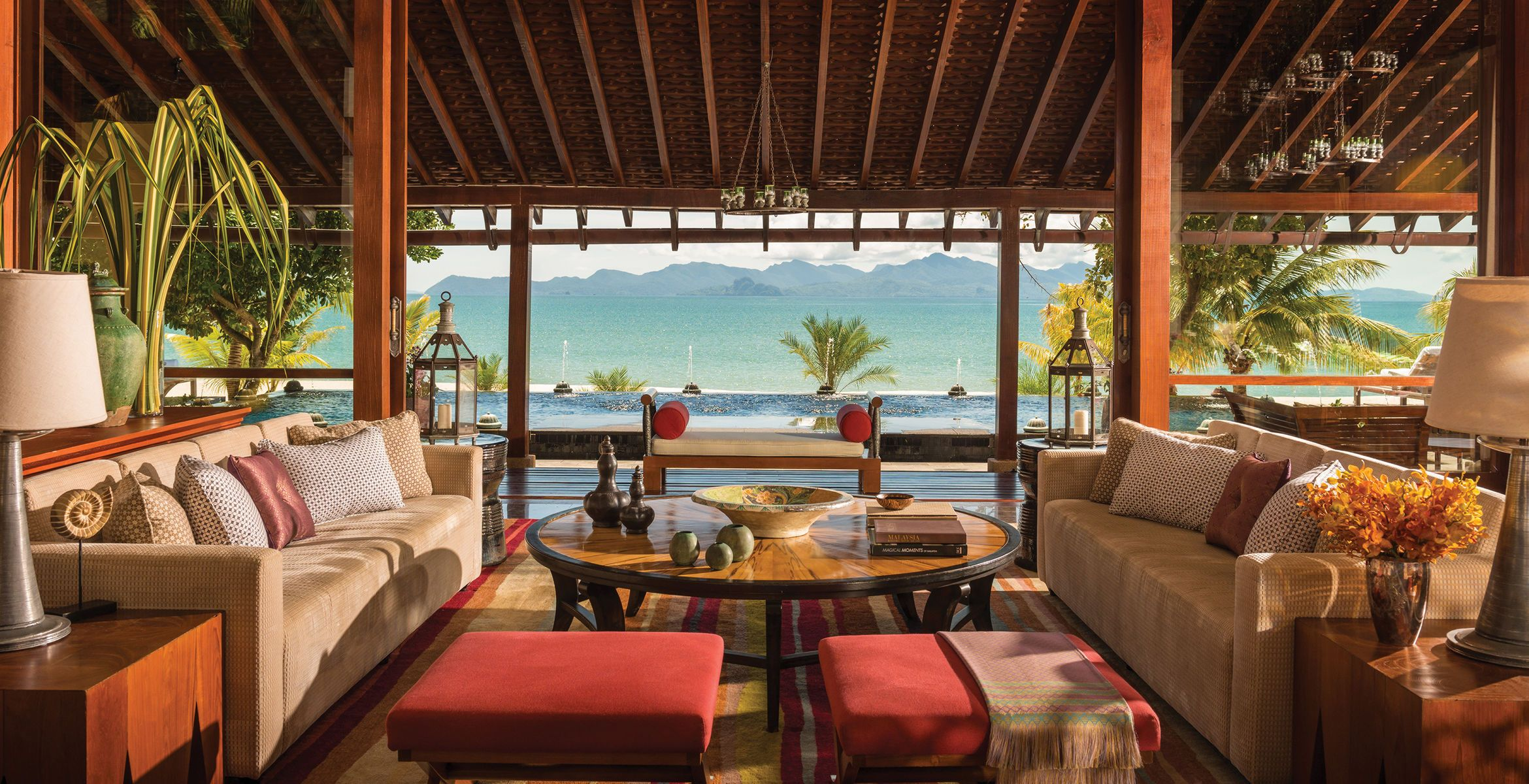 Tropical Living Room In Malaysia Ideas With Fireplace The Corner Four Seasons Resort Langkawi Tanjung Rhu Lounge Luxury Modern Chair Property Home Villa Cottage Restaurant