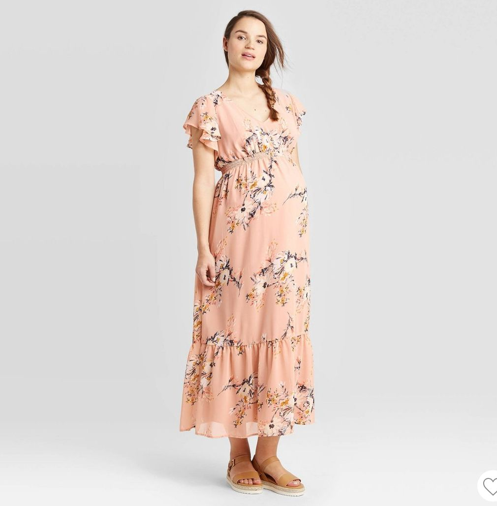 Floral Maternity Dress In 2020 Smocked Maxi Dresses Pretty Maternity Dresses Maternity Dresses