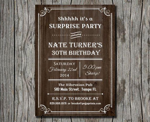 Rustic surprise party invitations printable wood surprise