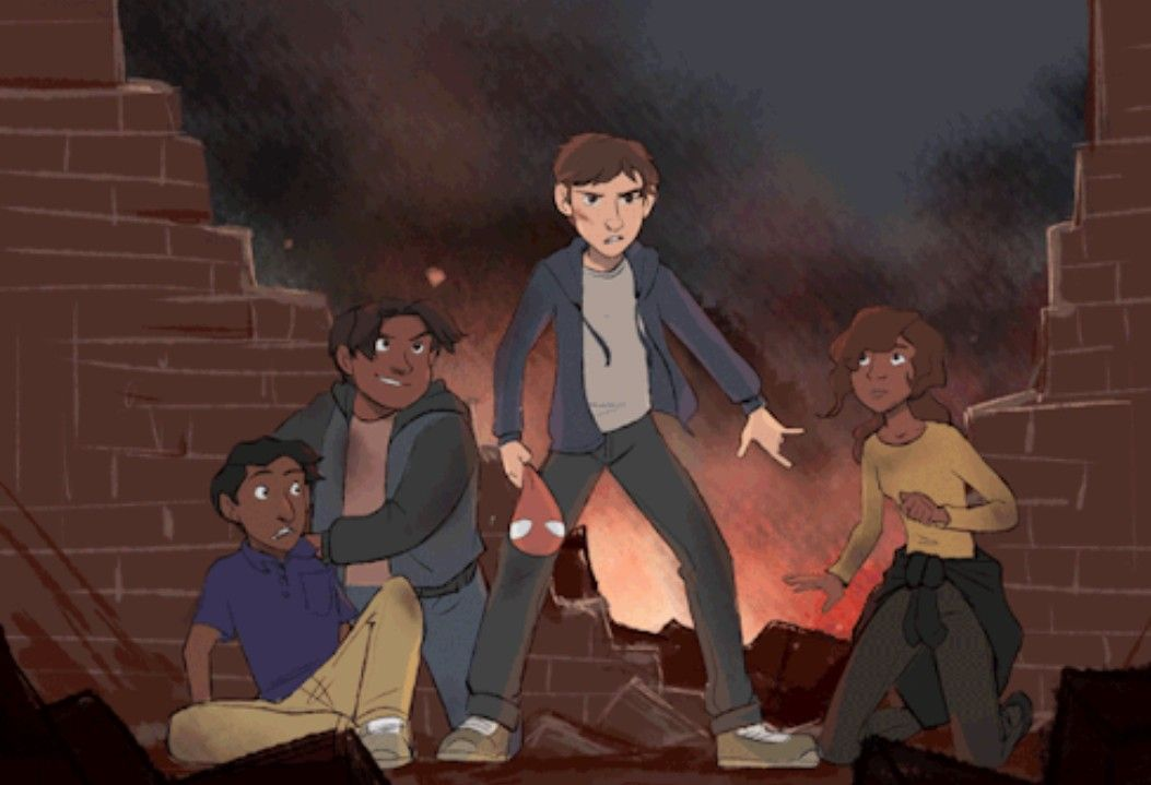 Peter, Ned, MJ and Flash   Drawings/Art   Marvel, Marvel