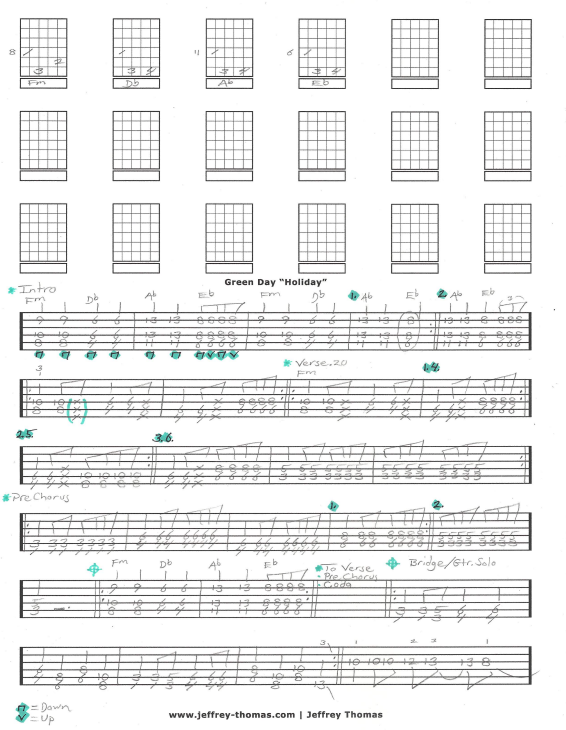 Green Day Holiday Guitar Tab By Jeffrey Thomas Check Out My Guitar
