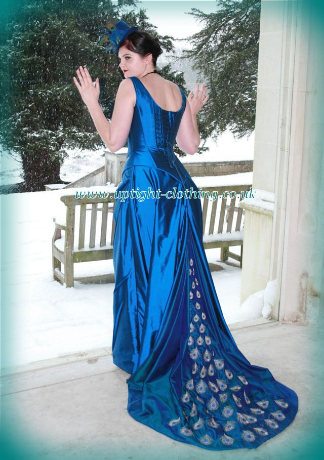 71d09fbca2 REAL BRIDE WEARING victorian peacock blue SILK CORSET WEDDING DRESS with peacock  feather embroidered train
