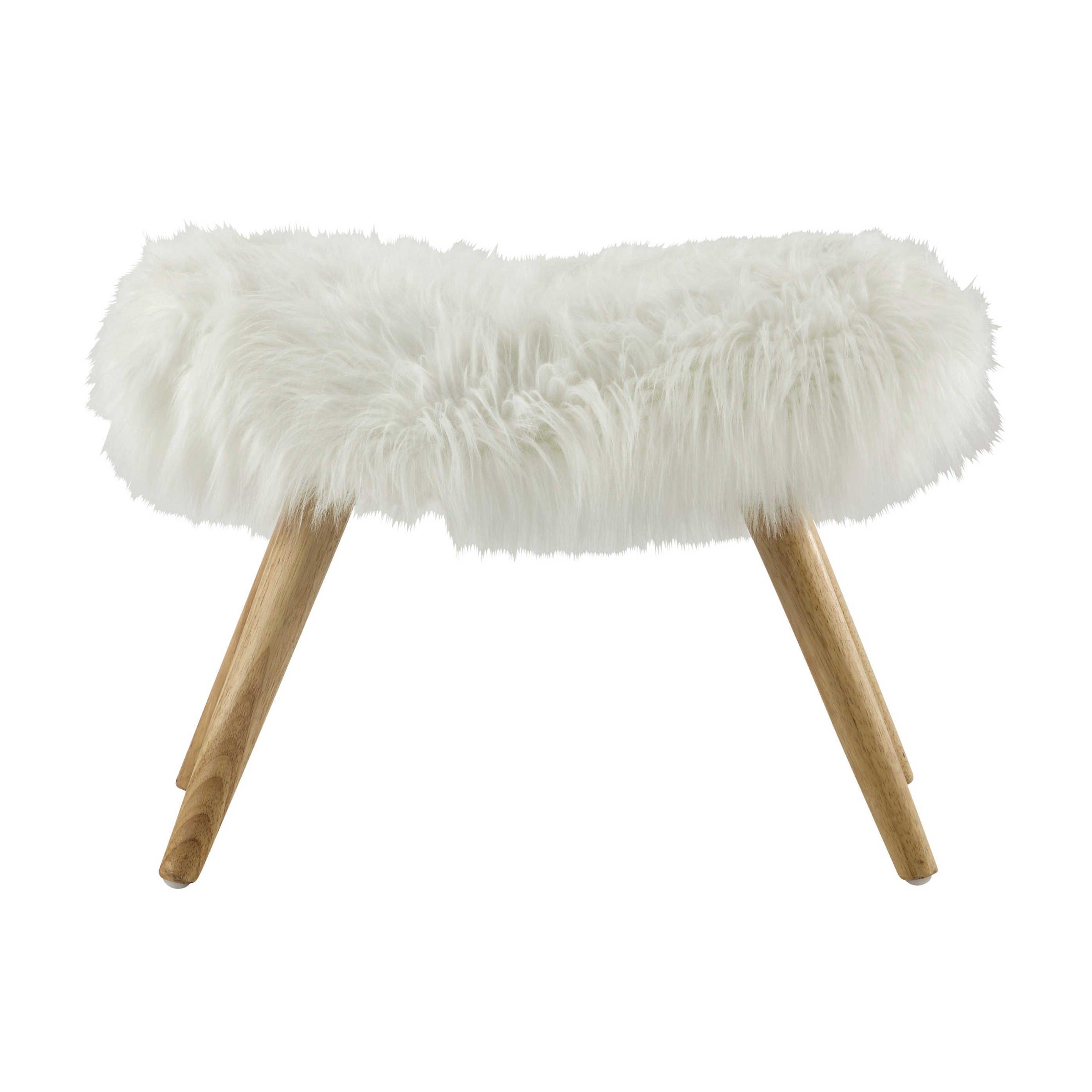 Seating Fur stool, White faux fur