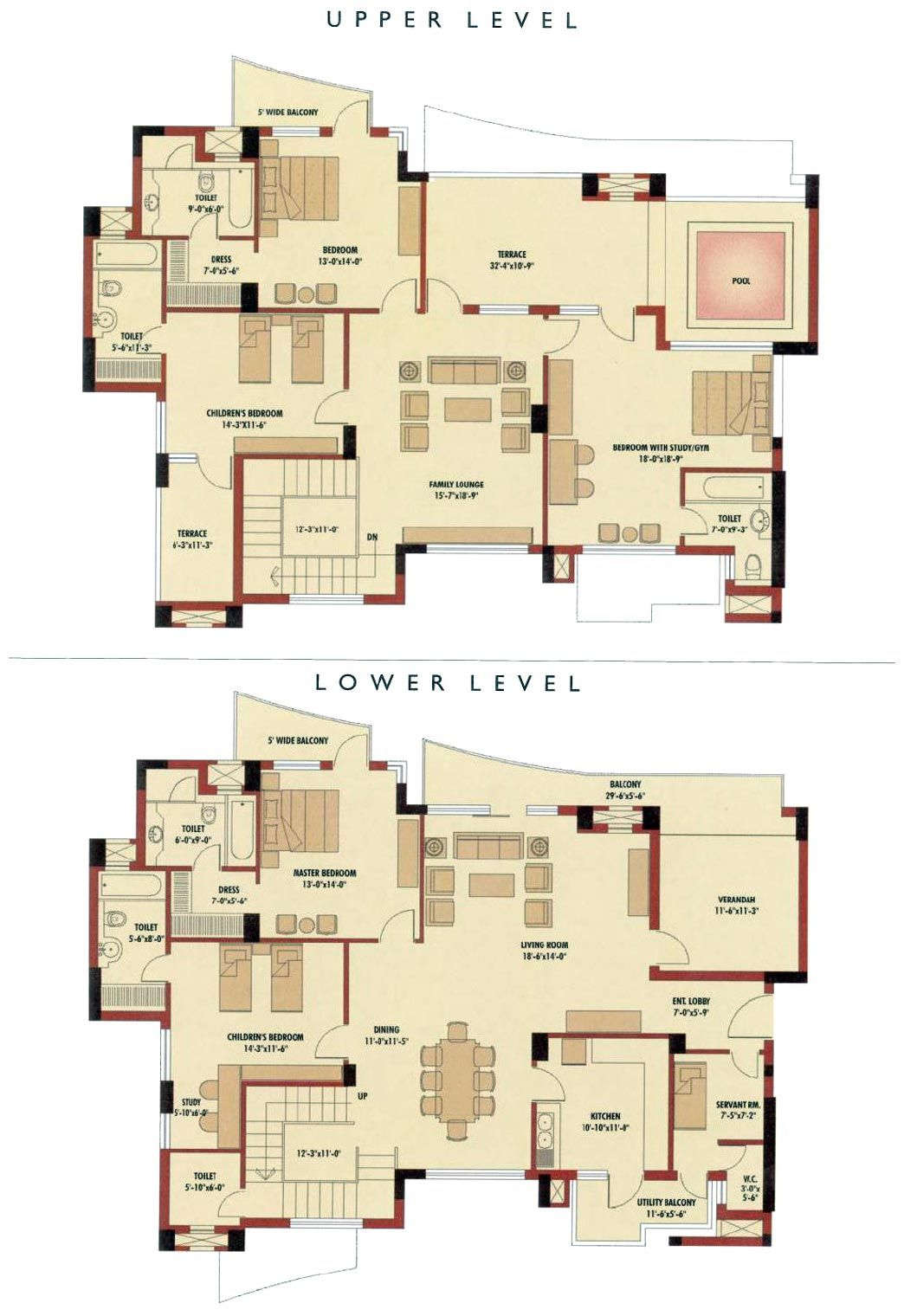 4 Bedroom Floor Plans For Duplexes Luxury Penthouse Floor Plans Duplex House Plans House Plans Duplex House
