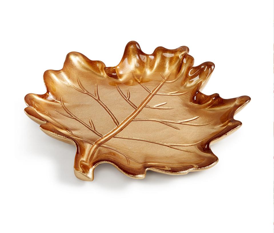 Martha Stewart Collection Harvest Glass Leaf Plate