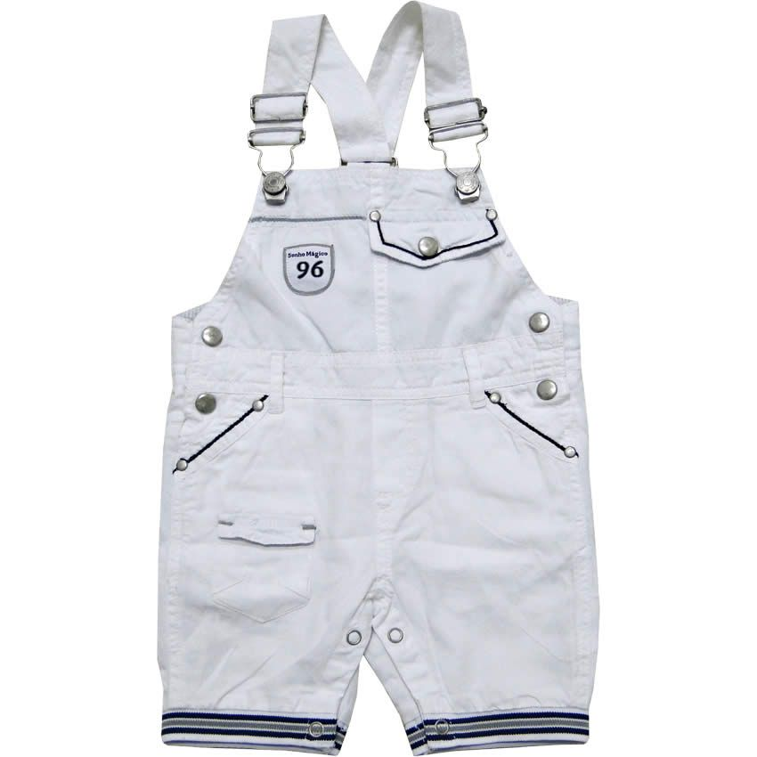 e8532accff0f44 Jardineira Bebê Masculina em Sarja Branca - Sonho Mágico :: 764 Kids ...