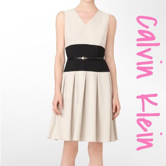 TAN  amp  BLACK VNECK BELT FIT FLARE SLEEVELESS Used Tan and black dress.  Dress 9f35ea75d60