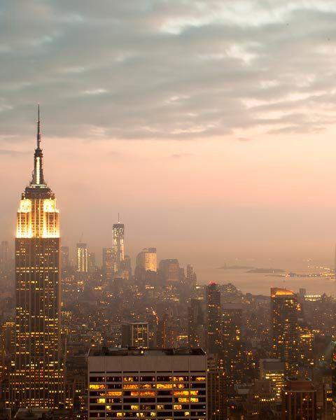 Manhattan To New York City: Printable Manhattan Skyline, New York Print, Pink, Gold