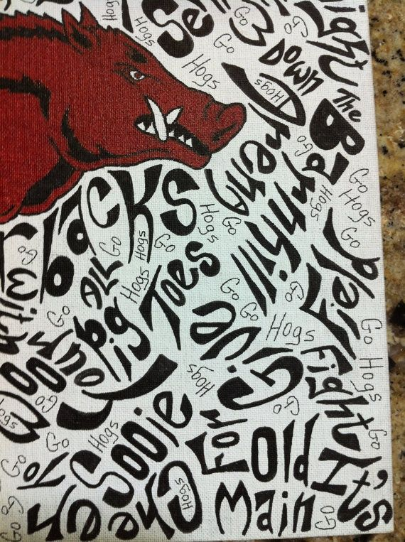 Hand Drawn Arkansas Razorback Wall Art with words only ... | Woo Pig ...