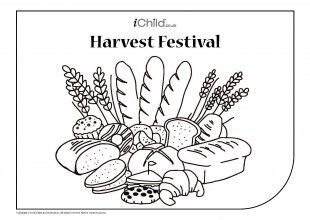 Children can colour in this picture of a feast of breads