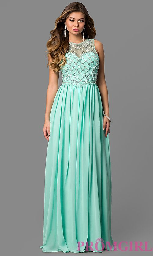 Long Illusion-Beaded-Bodice V-Neck Prom Dress in 2020