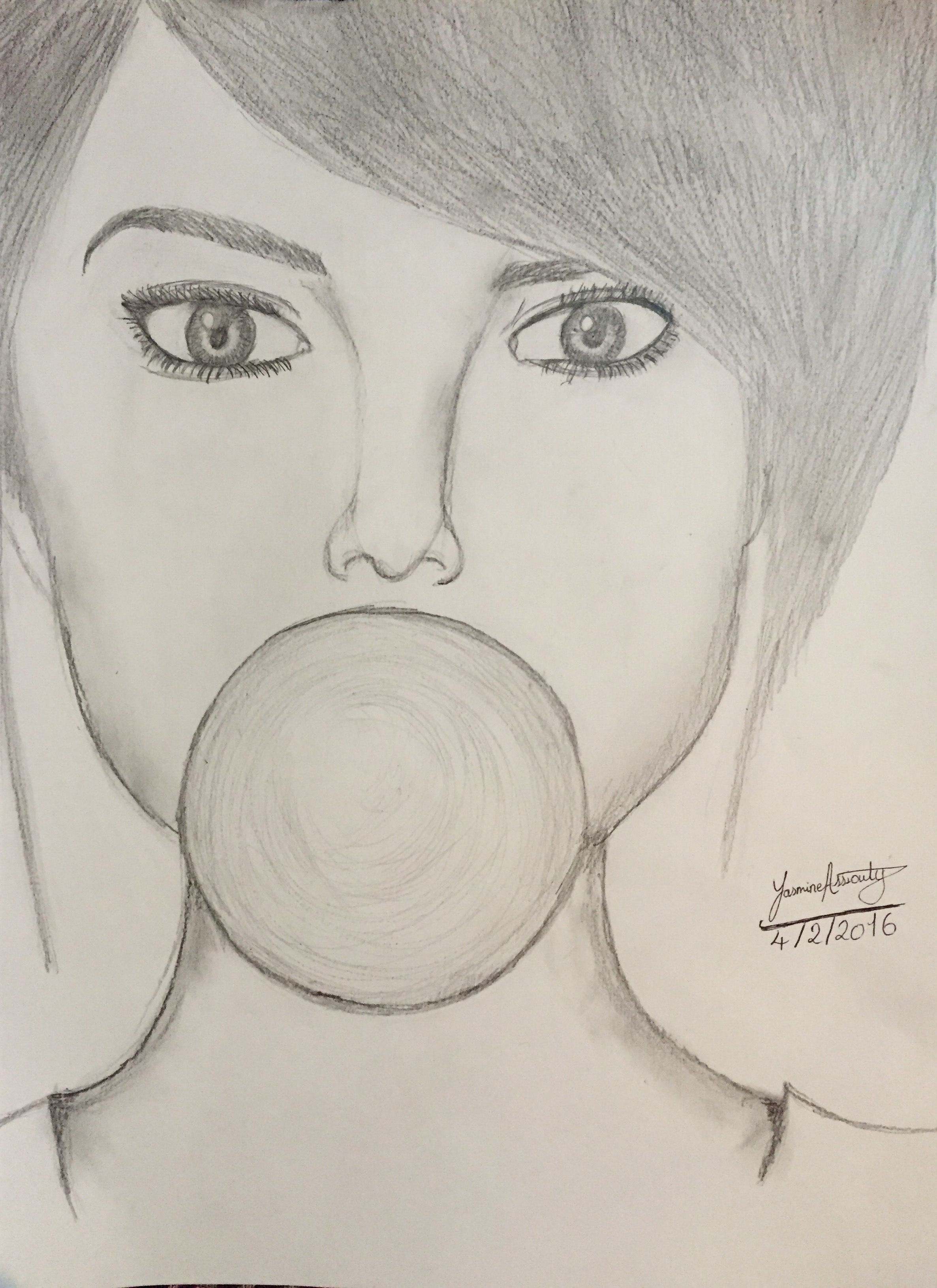 Easy pencil drawing for beginners girl eating a bubblegum