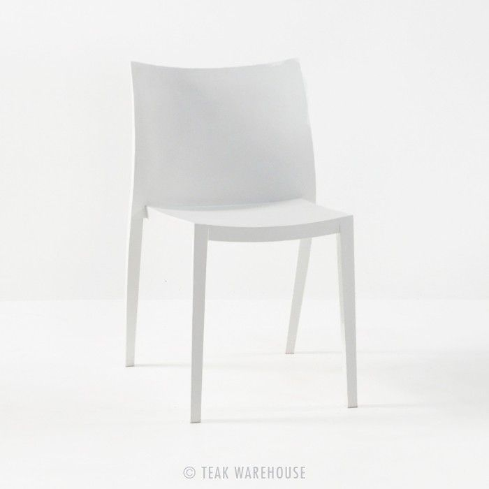 Teak Warehouse | Box Outdoor Dining Chair In Polypropylene (White)