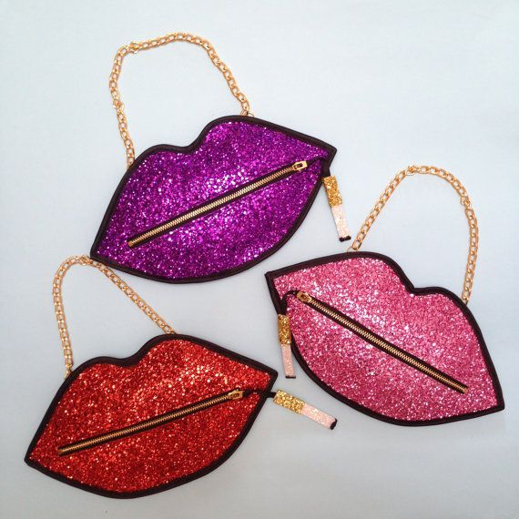 Pink Luna On The Moon Glitter Smoking Lips Clutch Handbag RRP £50.00 | eBay