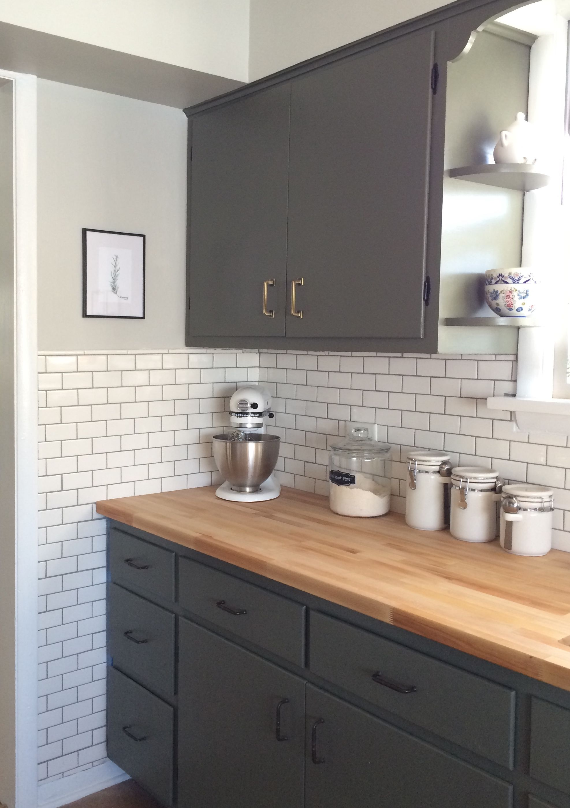 Dark green cabinets Benjamin Moore olive green subway tile