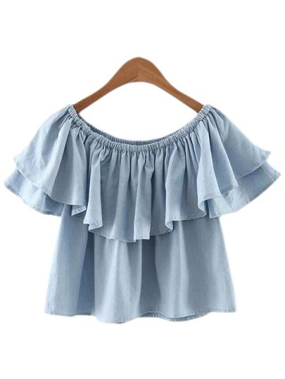 8d9b0257922 Light Blue Boat Neck Double Layers Ruffle Blouse. | :: >> Just ...