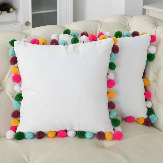 White On Rainbow Pom- Poms Trim Throw Pillow Cover Cushion Canvas Cotton Decorative Corduroy Pillow