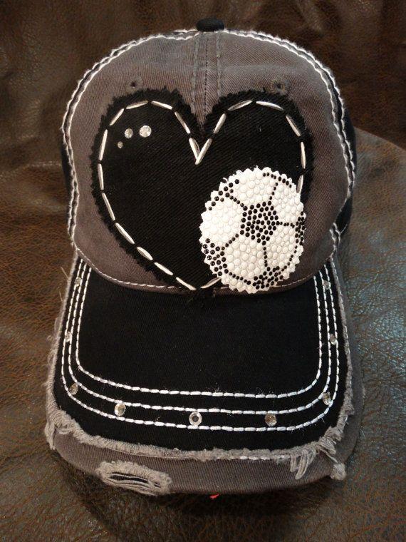 0e97824b323 Soccer love distressed baseball hat by BlingirlSpirit on Etsy