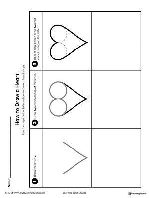 how to draw a heart shape printable worksheet shapes worksheets. Black Bedroom Furniture Sets. Home Design Ideas