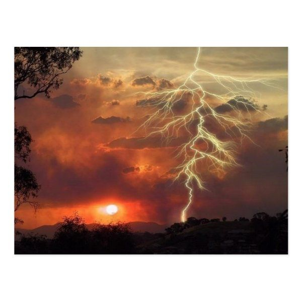 lightning at sunset postcard