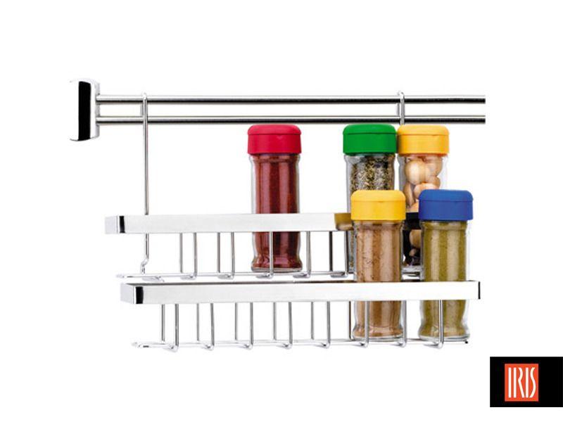 Estante especieros doble para barra de colgar accesorios for Tiradores de cocina