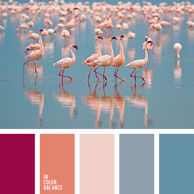 Nature creates the most beautiful and harmonious color combinations. This also applies to this palette. Gentle shade flamingos perfectly shaded surface of the water, making a coherent combination of colors and attractive.