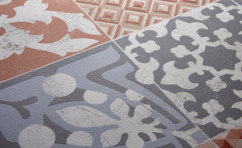 Sol Vinyle Texline Carreau Ciment Rouge Rouleau 2 M Vinyle